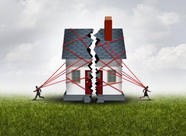 graphic of a divorcing couple pulling a house apart with red strings